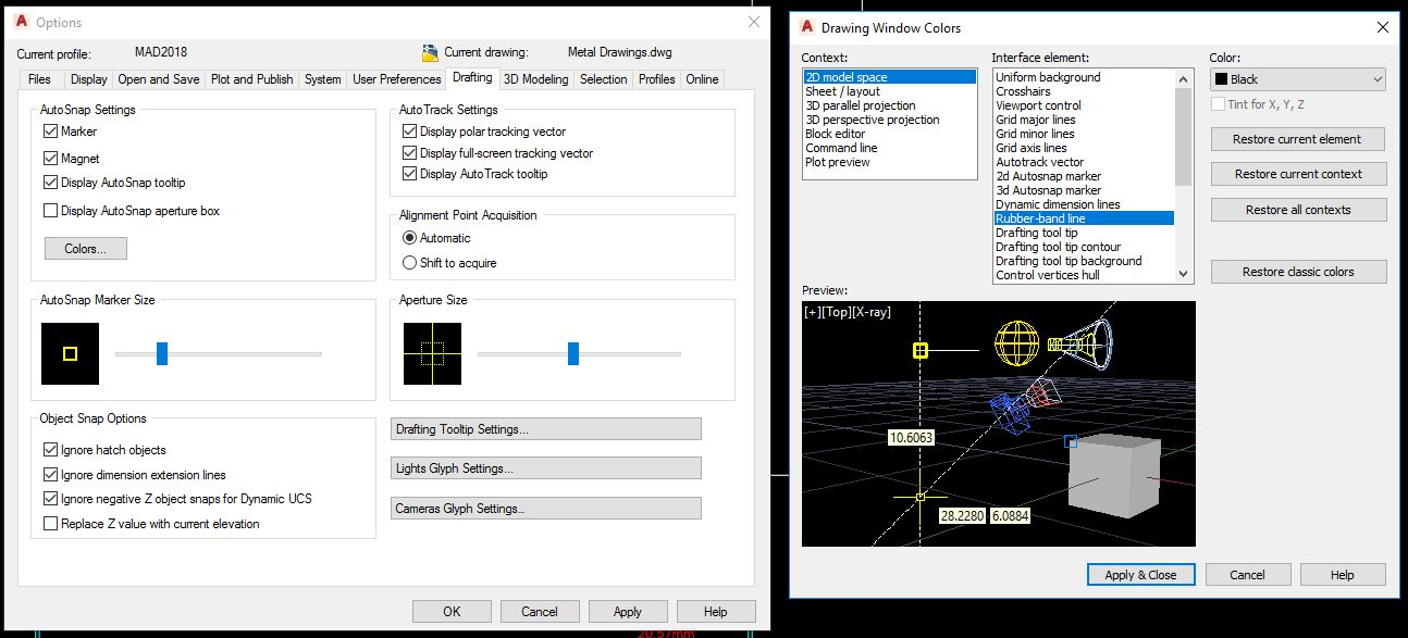 Solved: disable the Yellow Dash mouse tracer lines during a