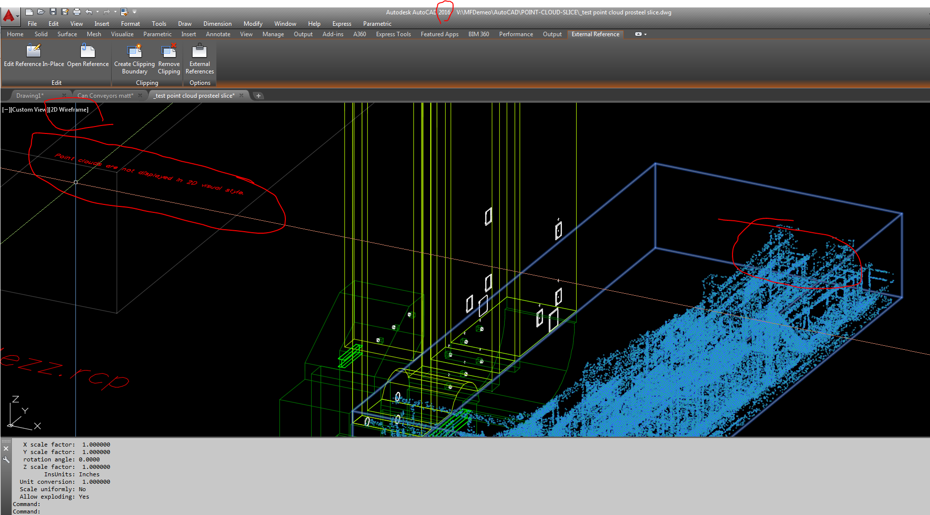 Solved: View point cloud in 2D Wireframe AutoCAD 2016/2017