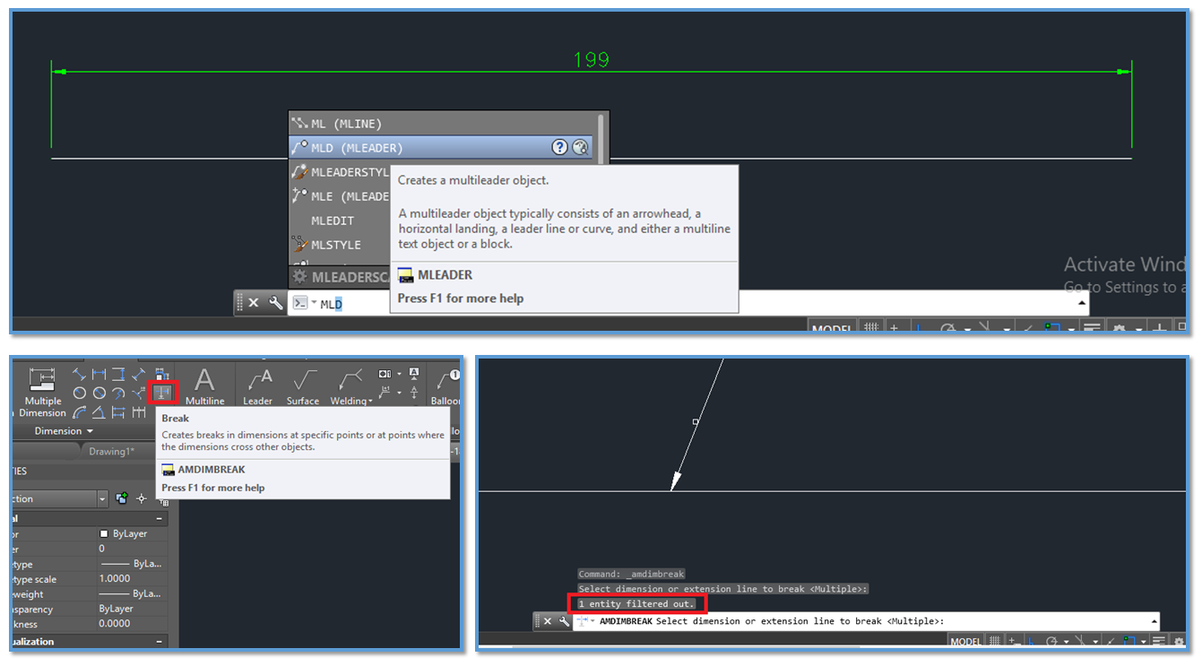Solved: How to show Break Line on MLeader in AutoCAD 2018