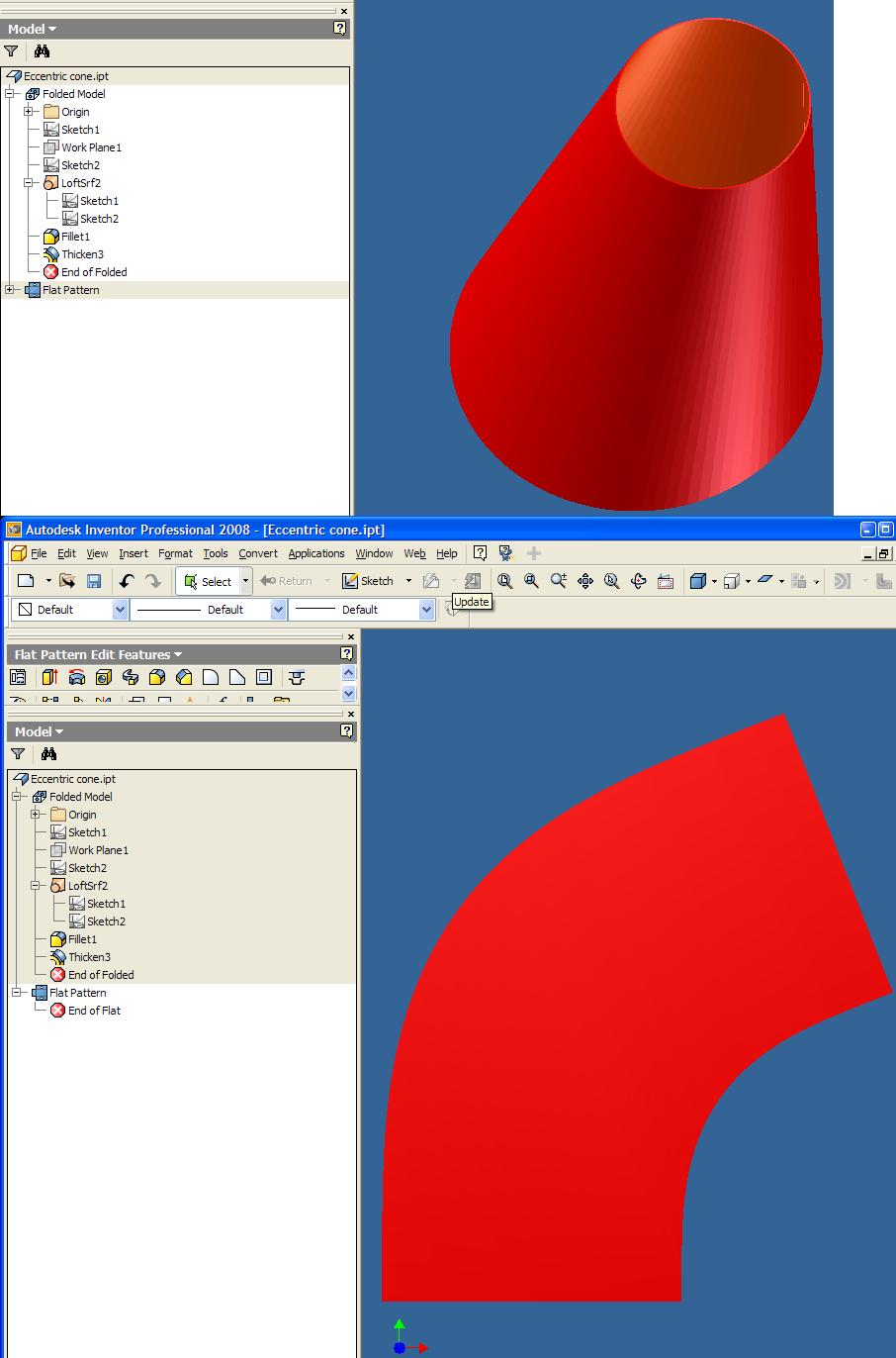 Flat Pattern Of Eccentric Cone Autodesk Community Inventor Products