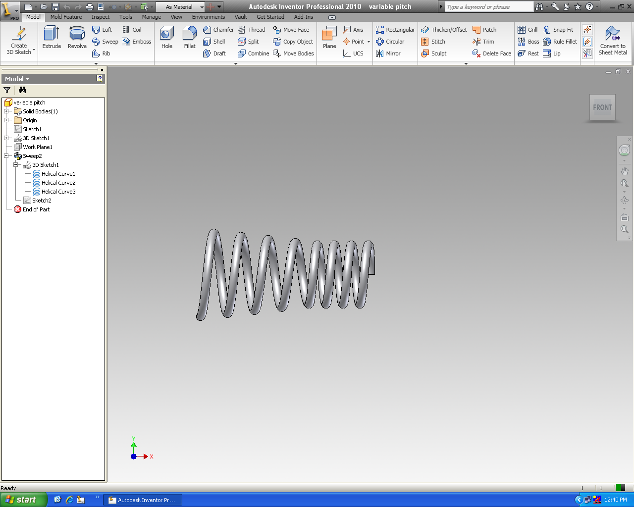 Variable pitch helical coil - Autodesk Community- Inventor