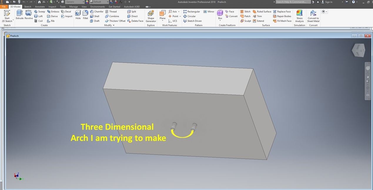 how to make a 3D arch - Autodesk Community- Inventor