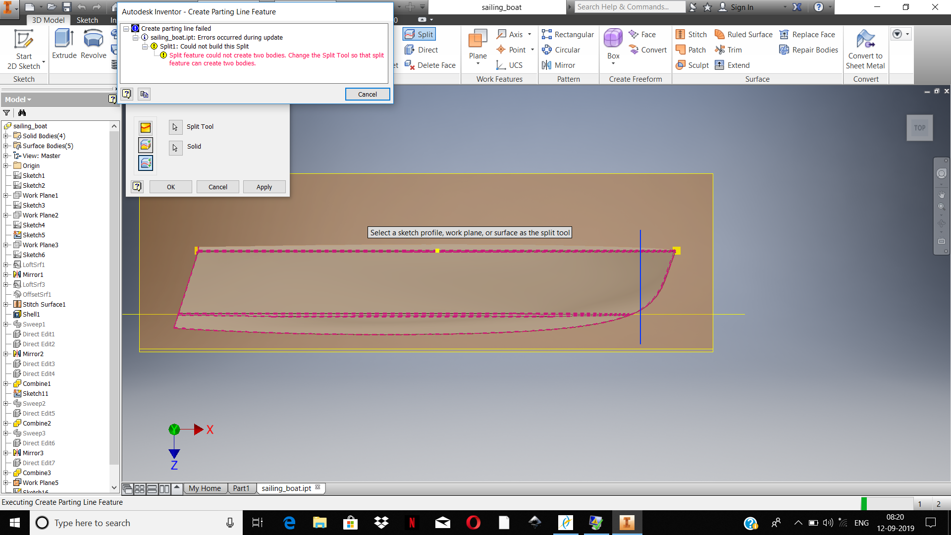 unable to split the boat hull into two part - Autodesk