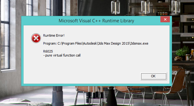 Microsoft Visual C++ Runtime Library & 3ds Max application
