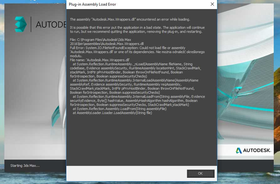 Plug-in Assembly Load Error when launching 3ds Max 2016