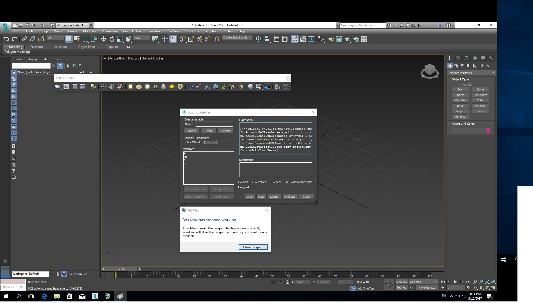 Solved: 3ds max 2017 will not open script controller AND