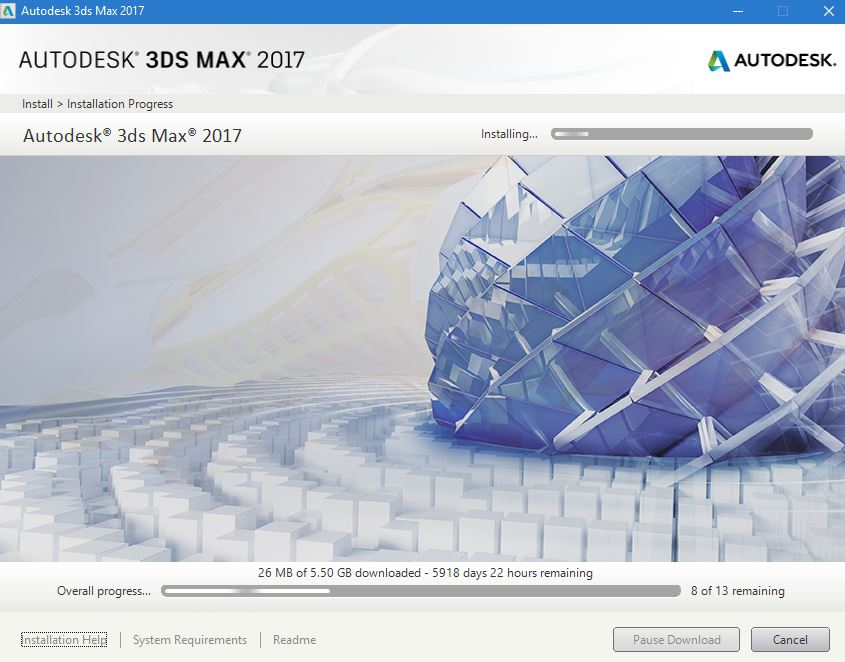 3ds Max Installation gets half way, then it freezes and says it'll