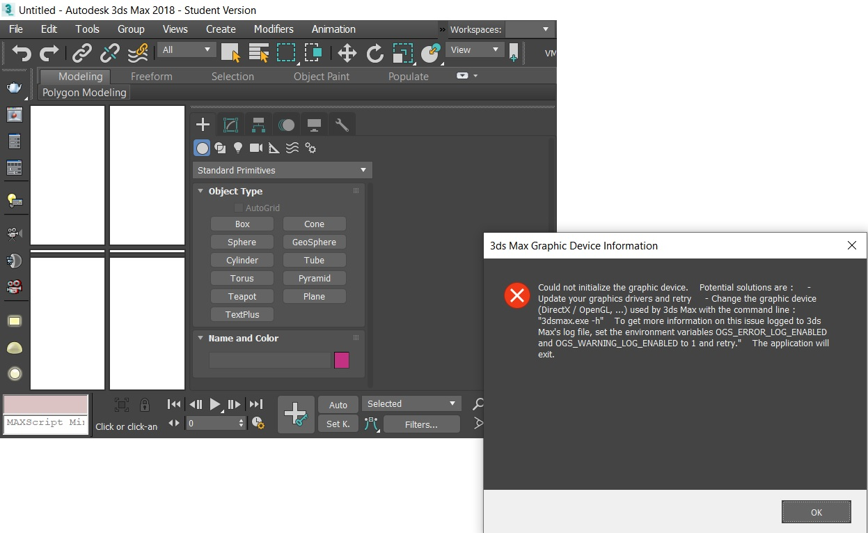 Solved: 3DS Max 2018 Not loading Graphic Device Problem - Autodesk