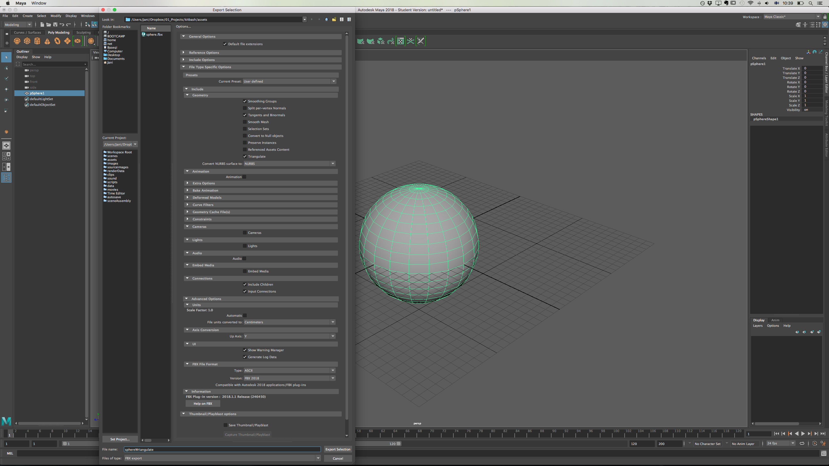Solved: Maya 2018 crashes on FBX export when triangulate