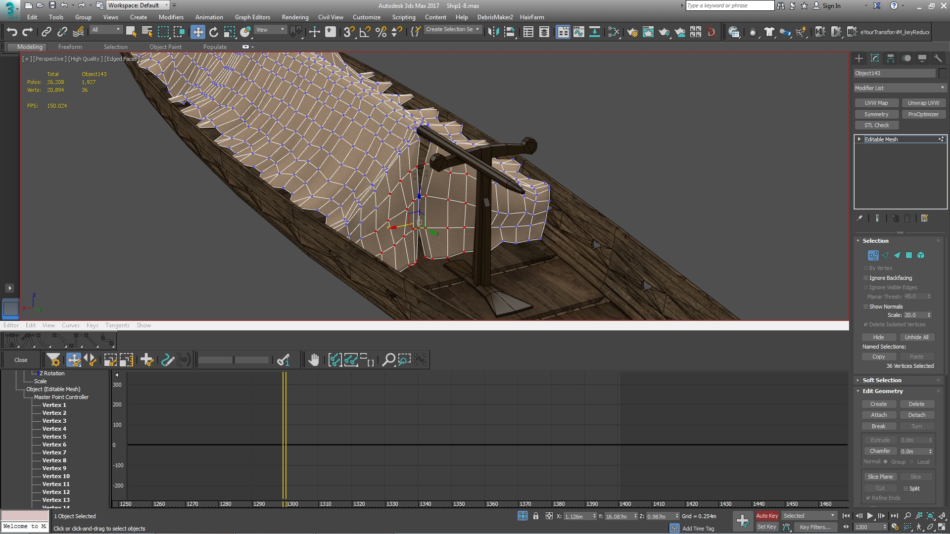 Selecting animated vertex's in the Curve editor, and in