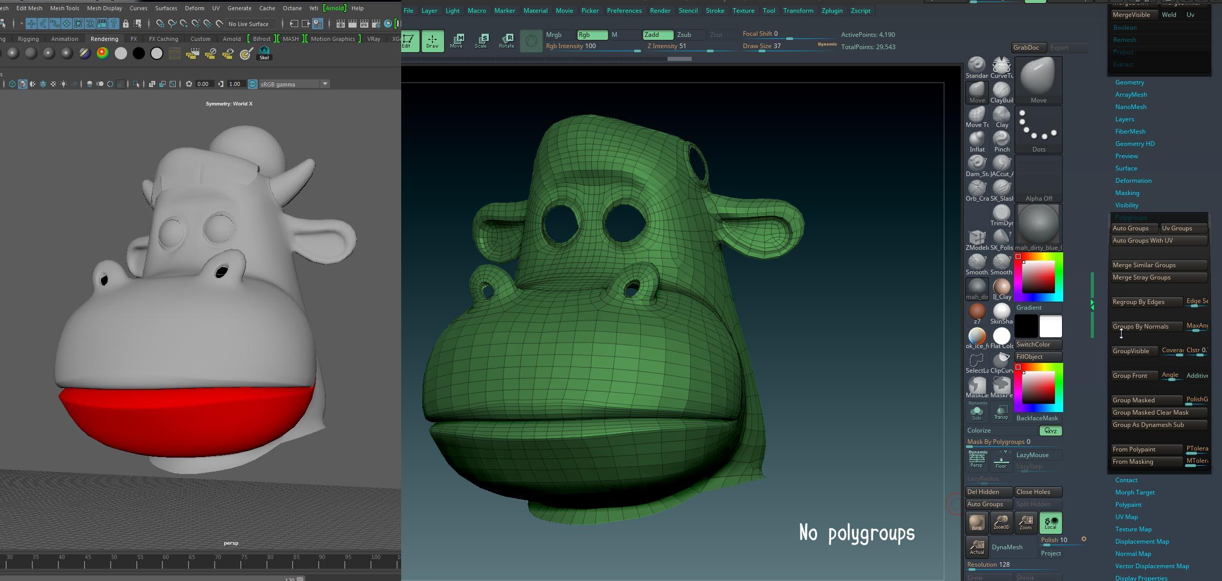 Solved: Maya obj to Zbrush polygroups problem - Autodesk