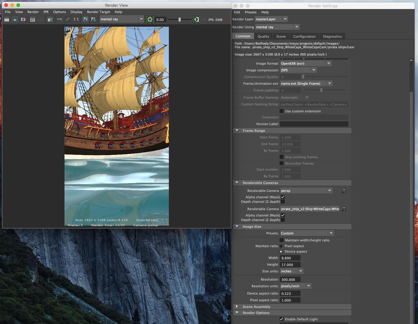 Solved: Mental Ray final render crop vs  viewport scene