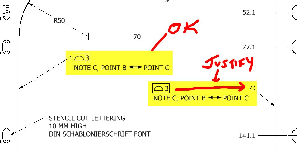 Text justification for drawing feature control frames when note ...
