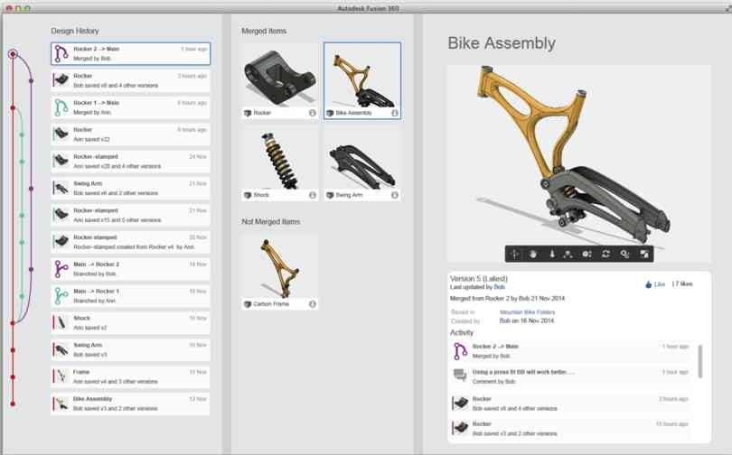 Figure 3: Branching and merging in Fusion 360 (coming soon)