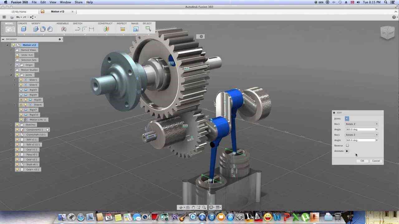 Figure 5: Fusion 360 motion study