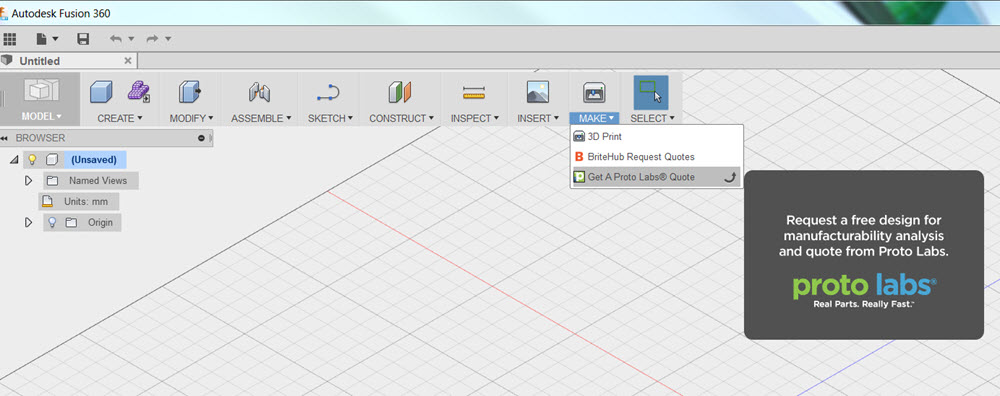 protolabs logo. by clicking on the \u201cget a proto labs quote\u201d link in \u201cmake\u201d drop-down menu, you will be able to get an interactive quote with manufacturability analysis protolabs logo