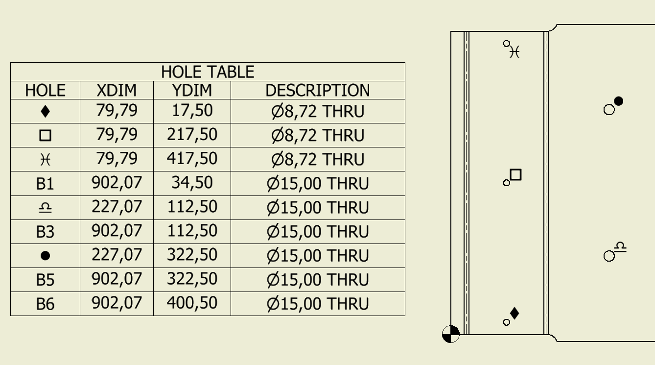 Wingdings font in first column of hole table for Table th font size