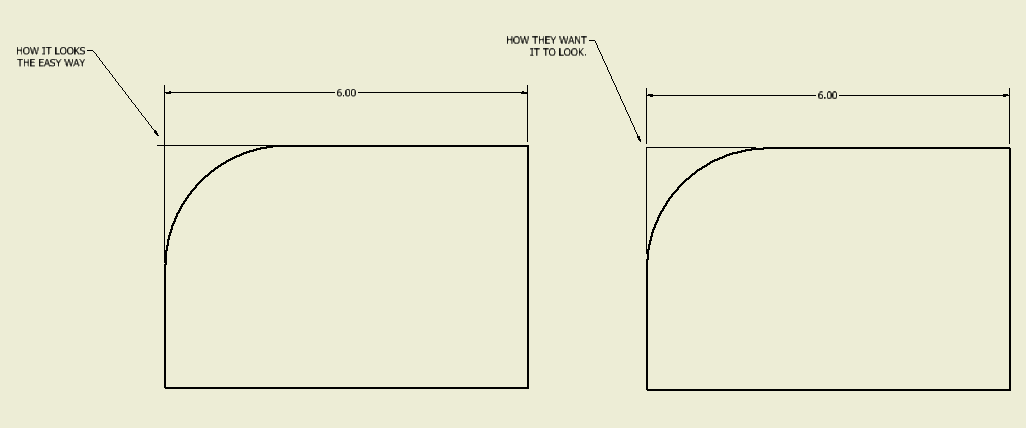 Virtual intersection in drawing without extension lines crossing ...