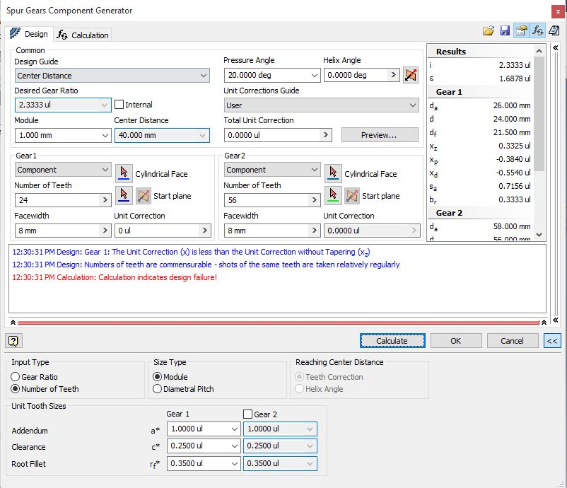 Online gear calculation of spur and helical gears with involute.