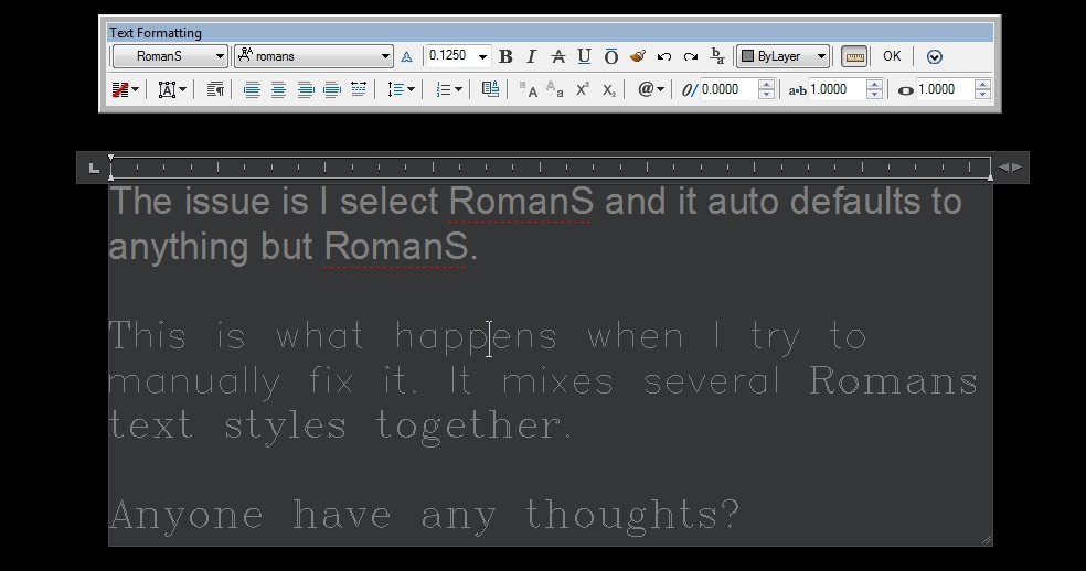 Solved Autocad Lt 2015 Romans Text Issues Autodesk Community Autocad Lt