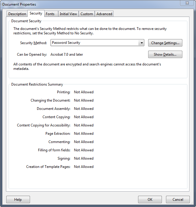 Acrobat Document Security Settings