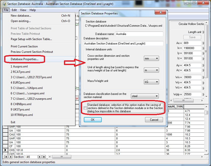 editing section database autodesk community robot structural