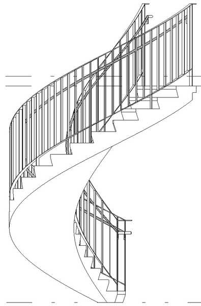 Solved: No projection lines on round handrail on spiral
