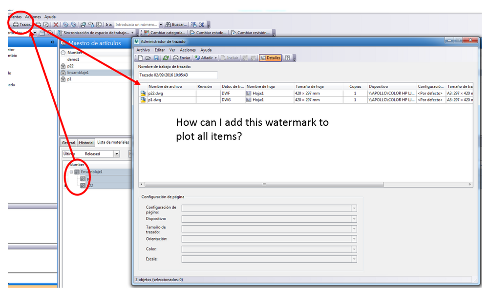 How to plot all items with watermark item status. - Autodesk ...