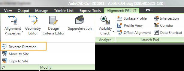 Autocad Civil 3d Reverse Alignment Direction - Autocad