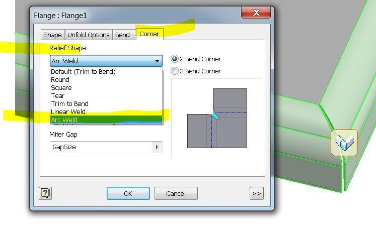 Solved Sheetmetal Large Bend Radius Corner Autodesk Community Inventor