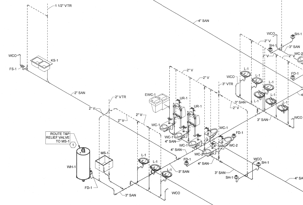 solved no gaps in 3d piping views autodesk community revit products rh forums autodesk com Single Line Diagram Example Single Line Diagram Symbols