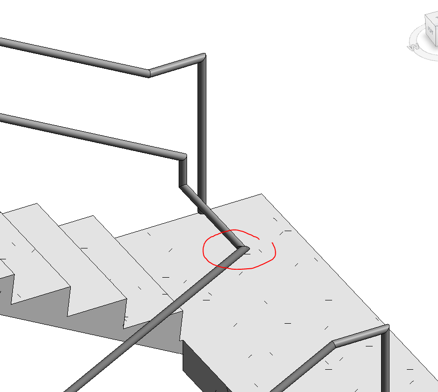 This Particular Condition Can Be Fixed By Adding A Small Segment On The  Same Plane With The Sloped Handrail, But Horizontal, Before Turning The  Direction.