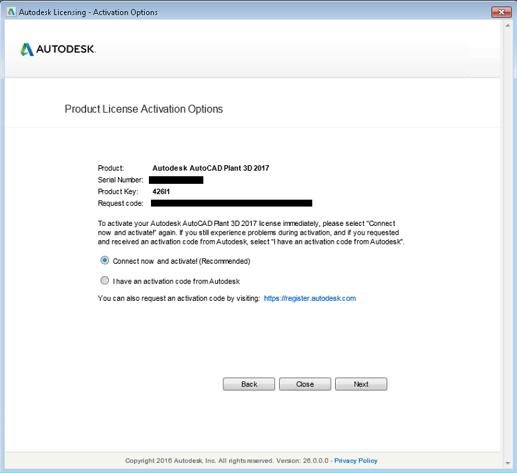 solved product license activation window serial number already rh forums autodesk com  autodesk inventor professional 2017 product key