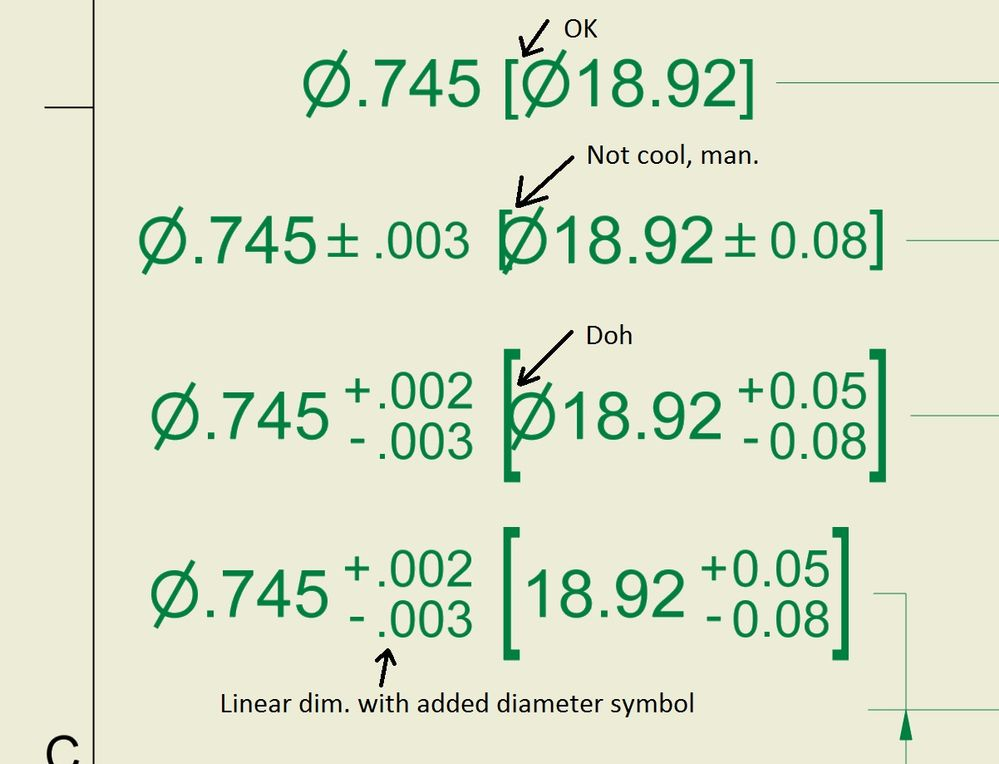 Solved Dimensions With Alternate Units Diameter Symbol And
