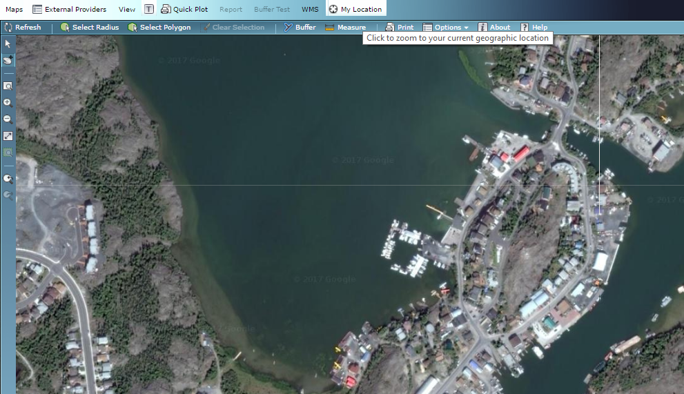 Displays The Current Location As Google Maps In MapServer Autodesk - Current aerial maps