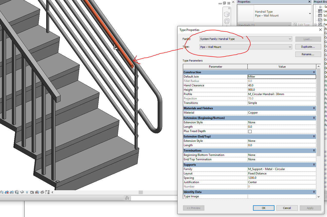 Solved: Edit distance from handrails to top rail and ...