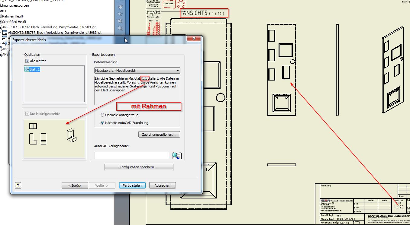 Gelöst: Inventor Zeichnung - Export nach DXF alle Ansichten in 1:1 ...