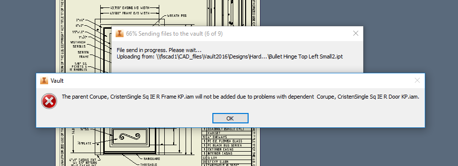 Error: The parent (filename.iam) will not be added due to problems ...
