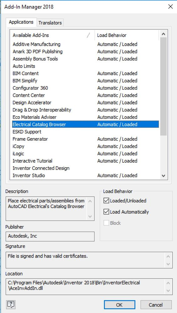 Solved Connecting Inventor 2018 With Autocad Electrical Catalog Browser Autodesk Community Inventor