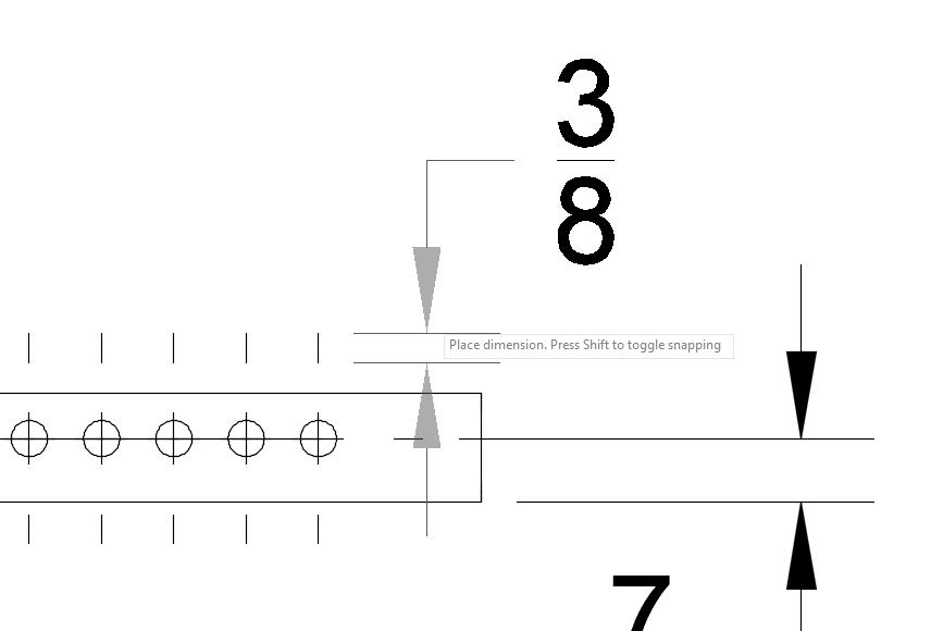 2D drawing: Dimension auto snaps to allow dimensioning of extension ...