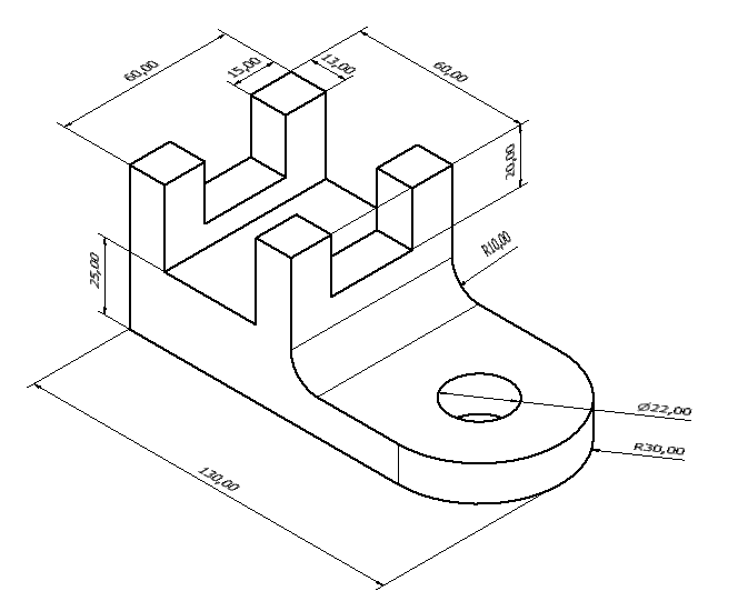 drawing dimensions on isometric view
