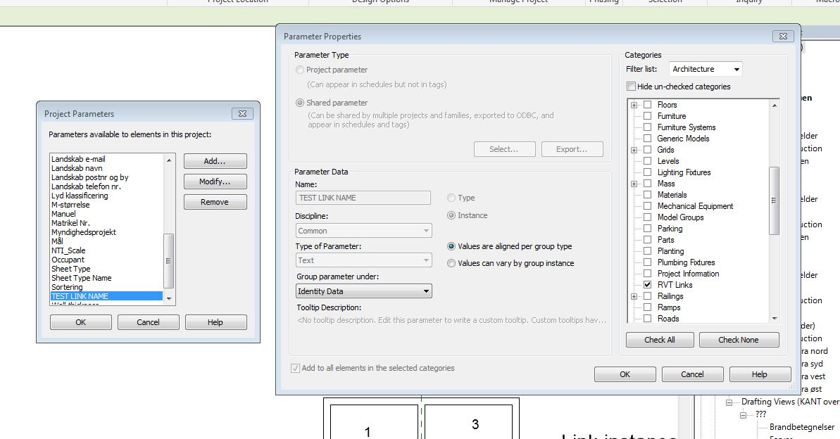 instance parameter on links for use in room schedule autodesk