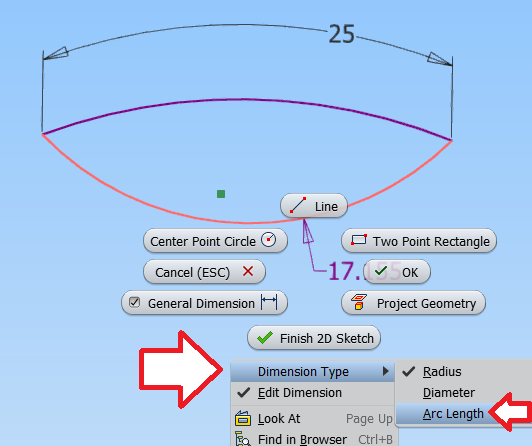 Solved Dimension Arc Length Autodesk Community Inventor Products