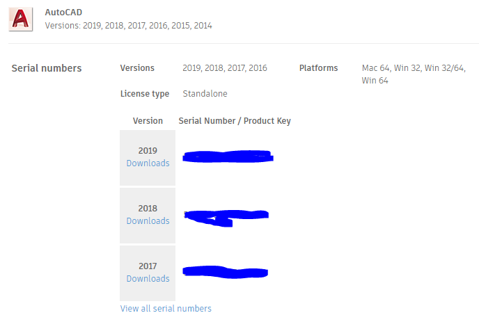 serial number and product key for autocad 2019