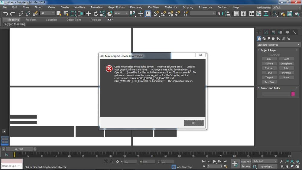 3ds Max graphic device error - Autodesk Community