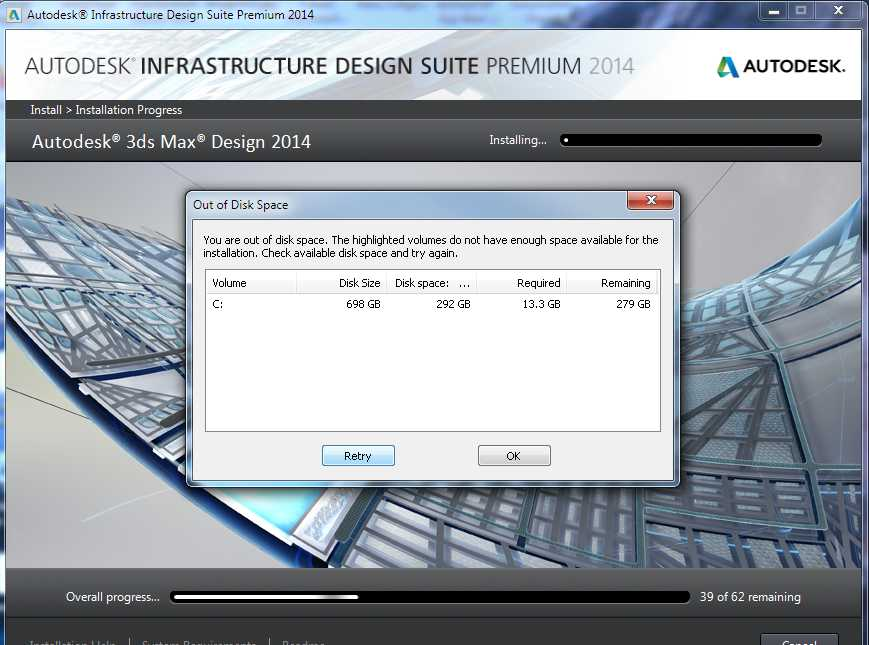 Solved Out Of Disk Space Infrastructure Design Suite Premium 2014 C Drive Autodesk Community Subscription Installation And Licensing
