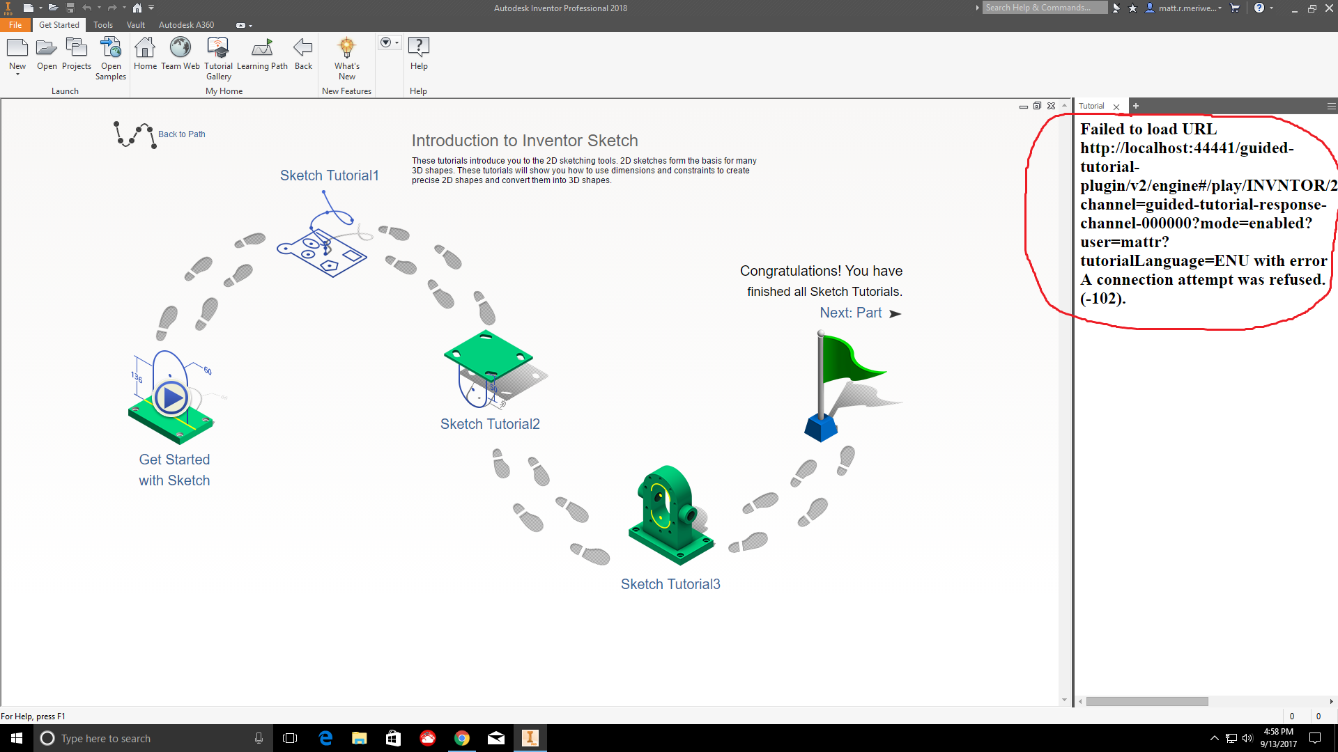 Solved: Inventor 2018 Learning Path and Tutorial Gallery Not Working  Connection Failed - Autodesk Community- Inventor Products