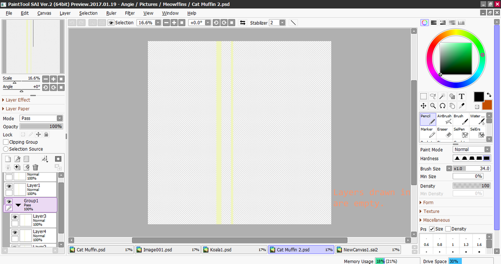 my layers made on sketchbook is empty when opened paint tool sai