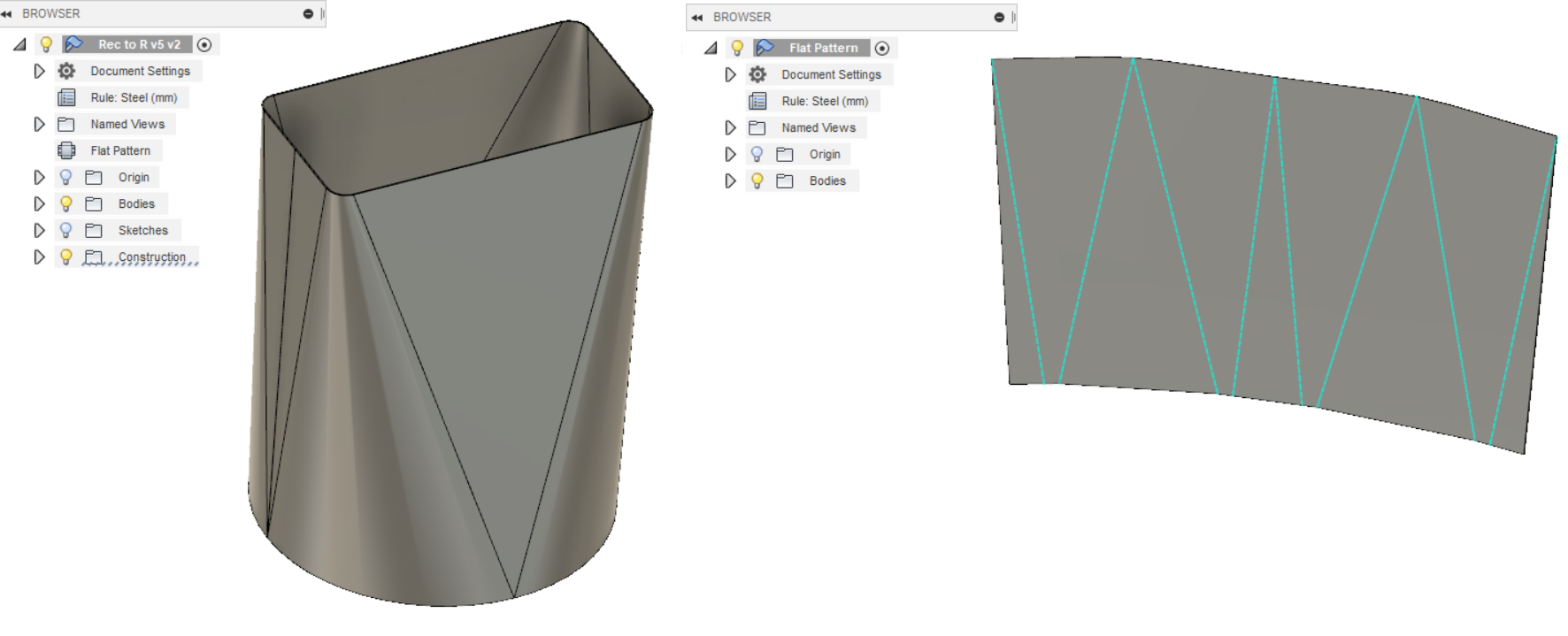 Conical Bend In Sheet Metal Autodesk Community Fusion 360