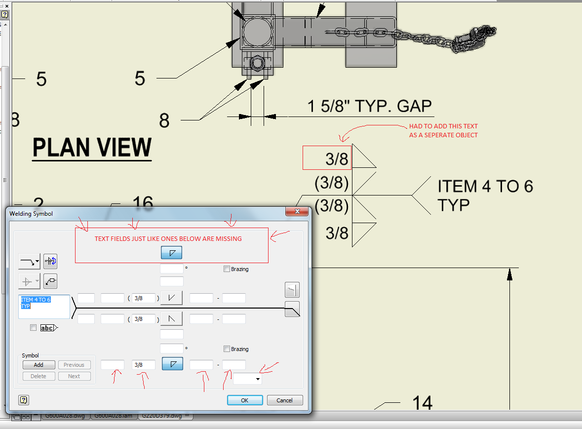 Inv 2014 Welding Symbol Fields Missing Autodesk Community